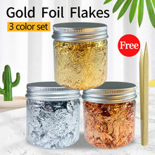 3g Imitation Gold Sliver Copper Foil Glitters Craft Leaf Flake Sheets Foil Paper For Gilding DIY Nail Art Decor Cake Decoration