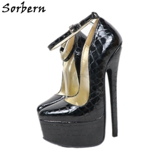 Sorbern Black Crocodile Women Pumps 20Cm Extreme High Heels Pointy Toe Sexy Evening Party Heels SM Fetish Footwear Large Size
