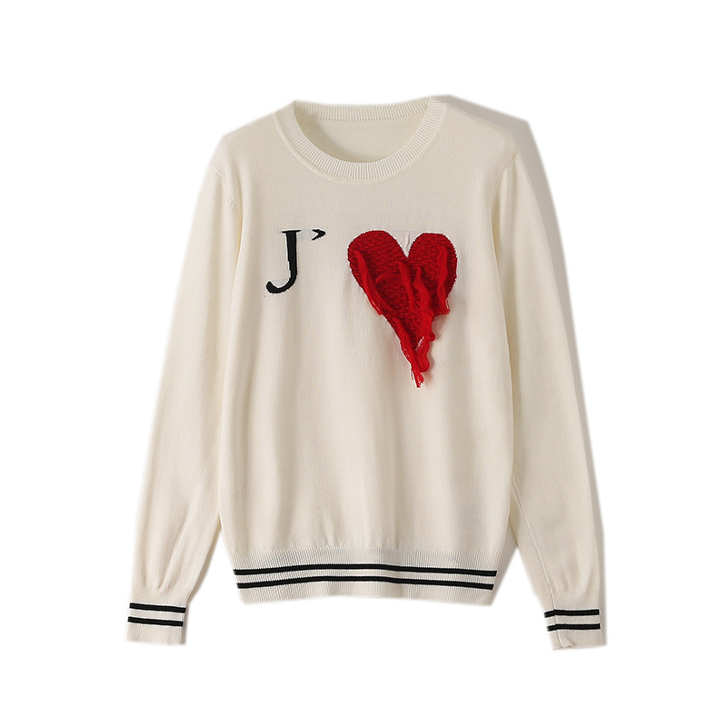 2019 Tassel Embroidery Love Heart Sweaters Female Long Sleeve Knitted Pullover Women Tops Casual Outerwear Pull Femme HC198
