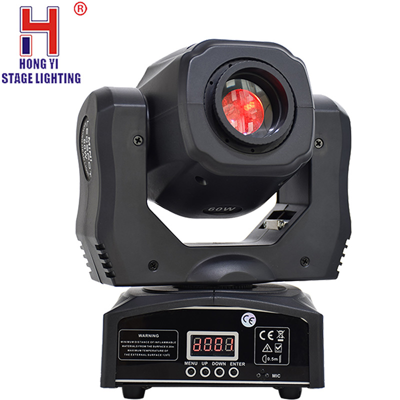 Lyre 60w Led Moving Head Light Mini Spot Dj Lights Of High Quality With 3-facet Prism 7 Gobos Dmx-512 For Stage Party Lighting