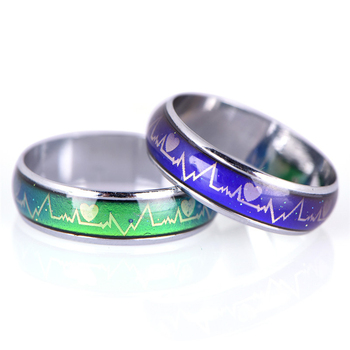 Emotion Feeling Changeable Mood Heart Rate Colorful Changing Magic Stainless Steel Couple Finger Ring Engagement Christmas Gift 4