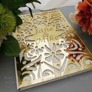 Image 1 - パーソナライズされた結婚式ゲストブックアルバムカスタムsignaturオーバルホワイト空白の内側のページmirro名日付ブライダルパーティーギフト装飾G009