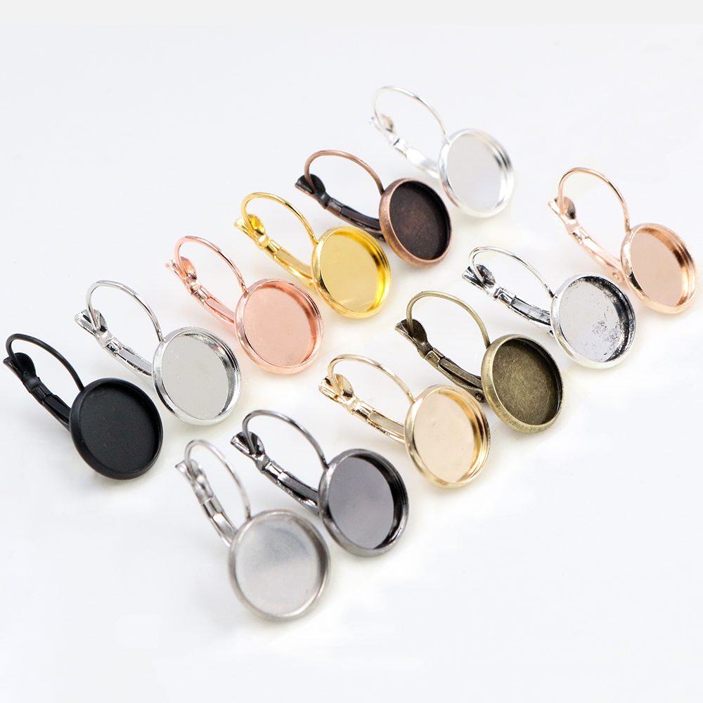12mm 10pcs Classic 10 Colors Series French Lever Back Earrings Blank/Base,fit 12MM Glass Cabochons,buttons;earring Bezels