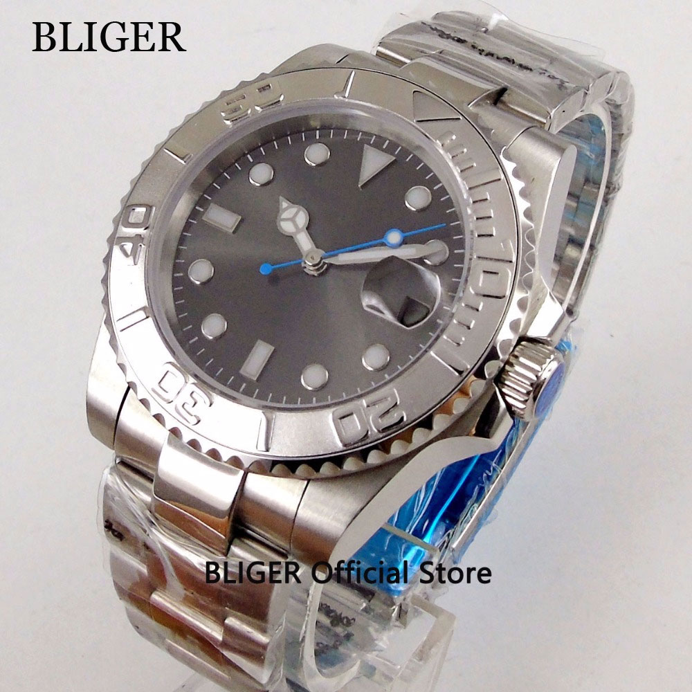 Sapphire Crystal BLIGER 40mm Grey Sterile Dial Silver Turning Bezel Men's Wristwatch MIYOTA Automatic Movement Watch Men