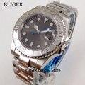 Sapphire Kristall BLIGER 40mm Grau Sterile Zifferblatt Silber Drehen Lünette Männer der Armbanduhr MIYOTA automatische Bewegung Uhr Männer-in Mechanische Uhren aus Uhren bei