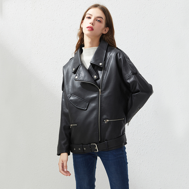 Fitaylor PU Faux Leather Jacket Women Loose Sashes Casual Biker Jackets Outwear Female Tops BF Style Black Leather Jacket Coat 2