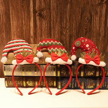Вечерние головные уборы повязка на голову Рождественский обруч стрейч-головной убор лента для волос шляпа декоративные рождественские аксессуары для волос navidad F924