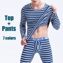 Winter Mens Warm Thermal Underwear Mens Thermo Long Johns Sexy Fashion Striped Thermal Underwear Sets Cotton Long Johns for Man цены