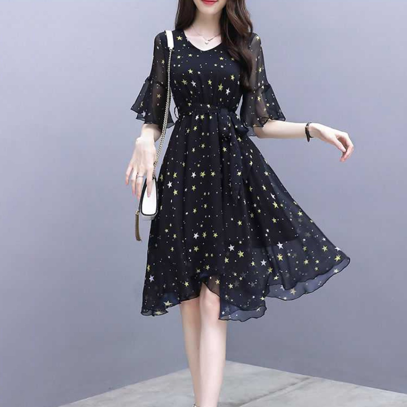 2019 Women V-Neck Short Sleeve Star Print Dress Ladies Casual Vacation Beach Dresses
