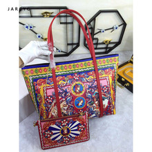 Luxury Italy Brand Ethnic Floral Bag Genuine Leather Shopper Tote Famous Designer Shoulder Bag Handbag and Purse for women 2019