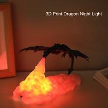 3D Print LED ognisty smok Ice Dragon lampy lampka nocna akumulator miękkie światło do sypialni salon Camping piesze wycieczki Home Decor