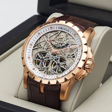 OBLVLO New Design Brand Luxury Transparent Hollow Skeleton Watches for Men Tourbillon Rose Gold Automatic Watches RM-E