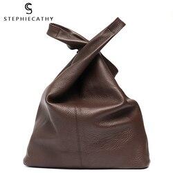 SC большая кожаная сумка на плечо, Женская Повседневная винтажная мягкая сумка из воловьей кожи, сумка-мешок, высокое качество, сумки на плеч...