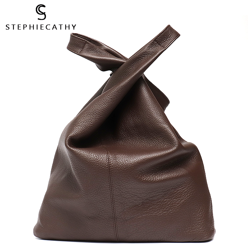 SC Large Leather Shoulder Bag Women Causal Vintage Soft Cowhide Skin Handbag Bucket High Quality Shoulder Bags Liner Bag