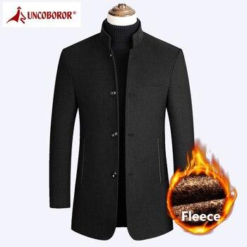 Abrigo de lana de invierno para hombre largo lana gruesa abrigo de lana Casaco Masculino palo Jaket Casual Trench Peacoat chaquetas