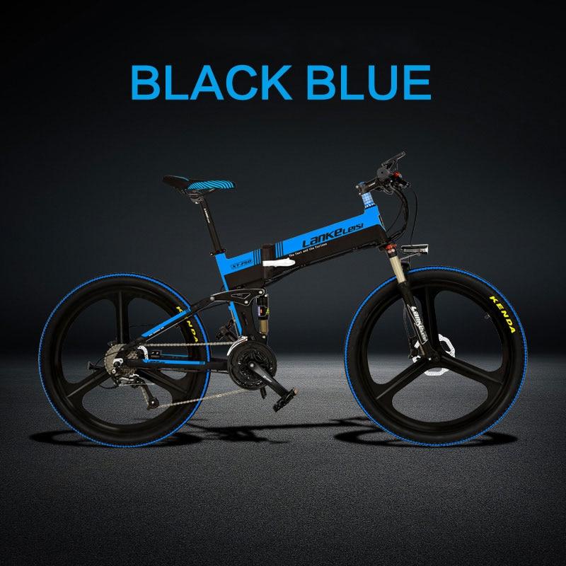 Электрический велосипед 26 дюймов 27 скоростей масляный диск литиевая батарея пятискоростной электромобиль - Цвет: Black blue 48V