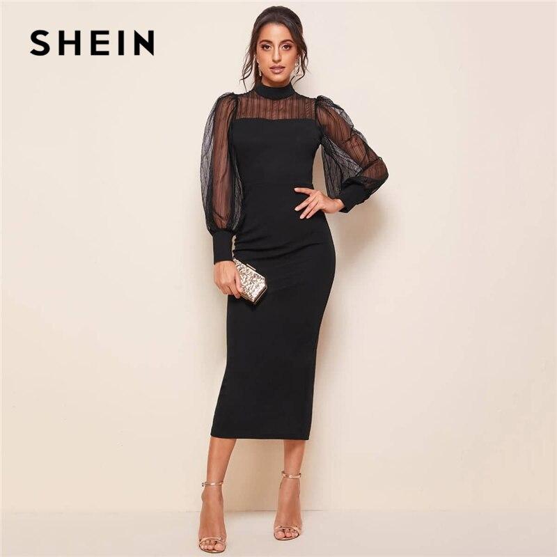 Женское облегающее длинное платье SHEIN, черное облегающее платье-карандаш с ложным воротником, рукавами-фонариками и высокой талией на осень