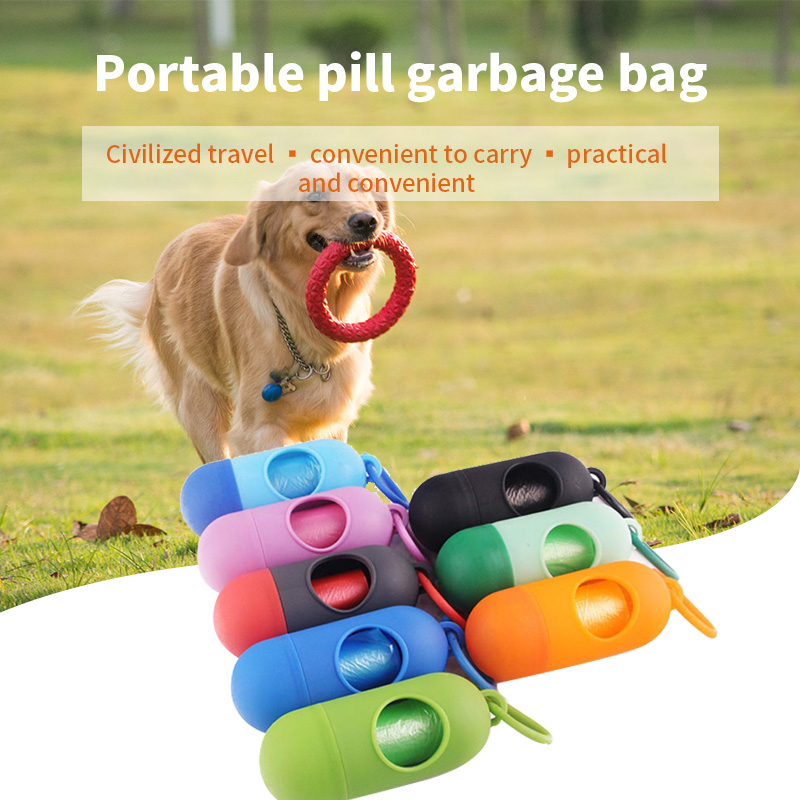 Pet Dog Poop Bag Pill Bone Shape Pet Dog Poop Bag Pet Waste Bag Litter Box Carrier Pets Dogs Trash Cleaning Supplies for dogs