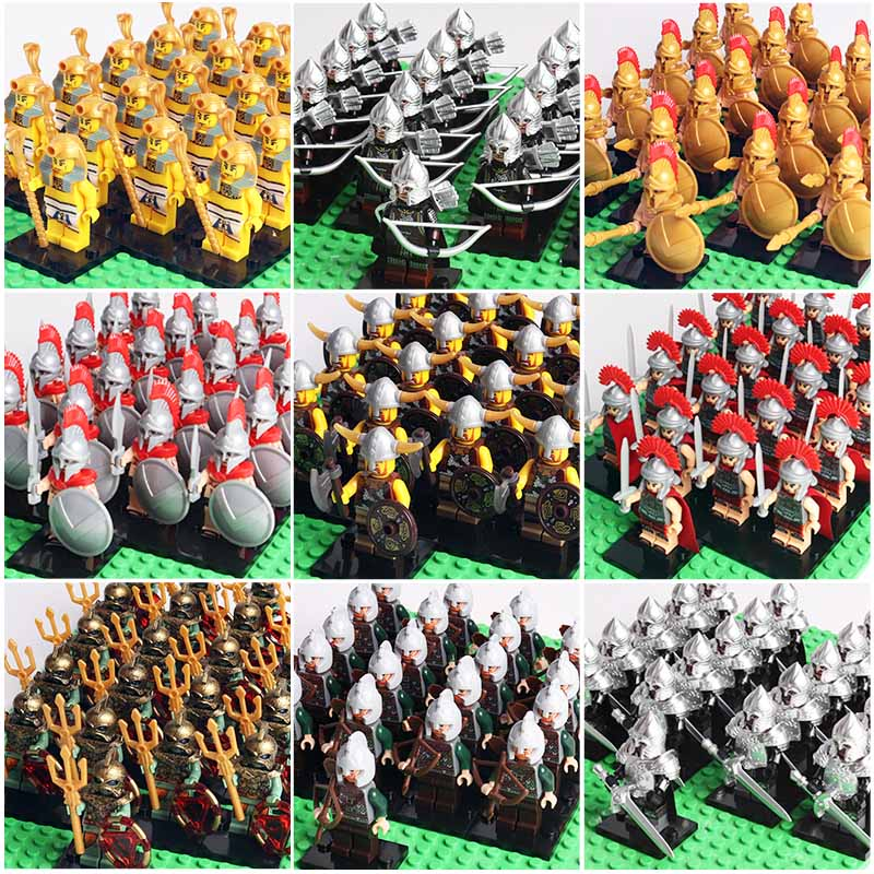 Oenux 21pcs Medieval Knights Army Figure Military Legoinglys Building Block Mini Rome Commander Spartan Soldiers Brick Kids Toy