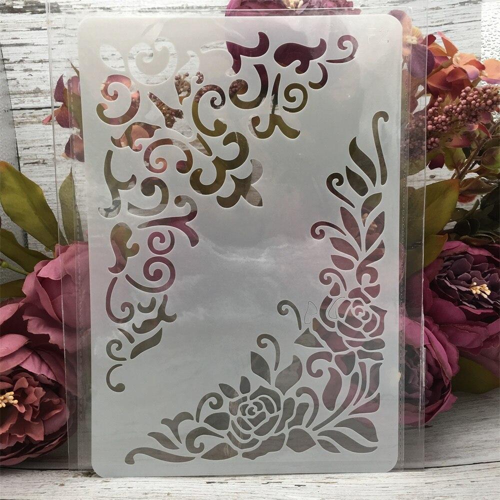 1Pcs 26*17cm Flower Edge DIY Layering Stencils Wall Painting Scrapbook Coloring Embossing Album Decorative Card Template