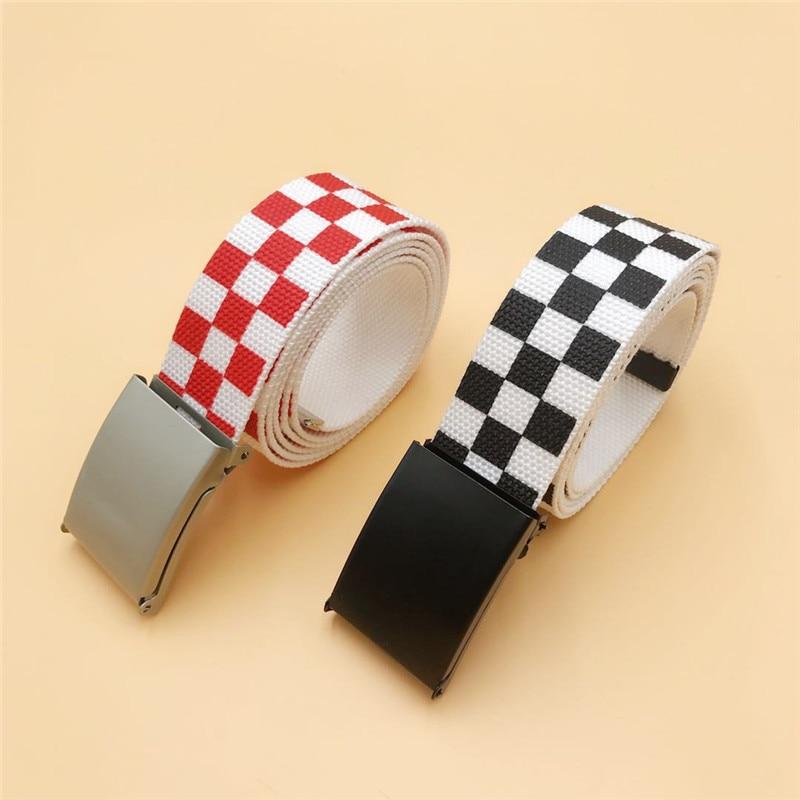 2019 Waistband 130cm/110cm Black White Plaid Belt Canvas Checkerboard Belts Cummerbunds Canvas Waist Belts Casual Checkered
