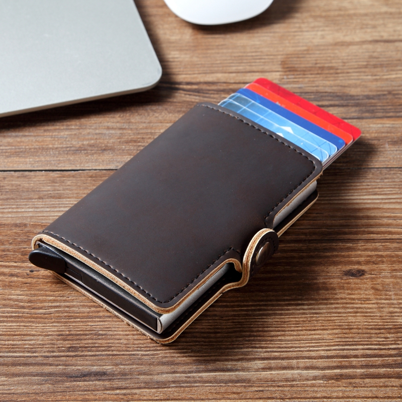Men Crazy Horse Leather Automatic Credit Card Holder Wallet Aluminum Mini Wallet With Back Pocket ID Card RFID Blocking Purse