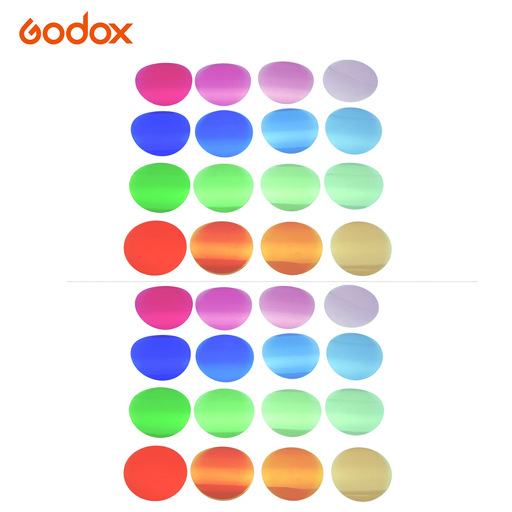 Godox V-11T Color Filter Kit Color Gels Filters 16 Different Colors * 2 For Godox V1 Series Camera Round Head Flashes