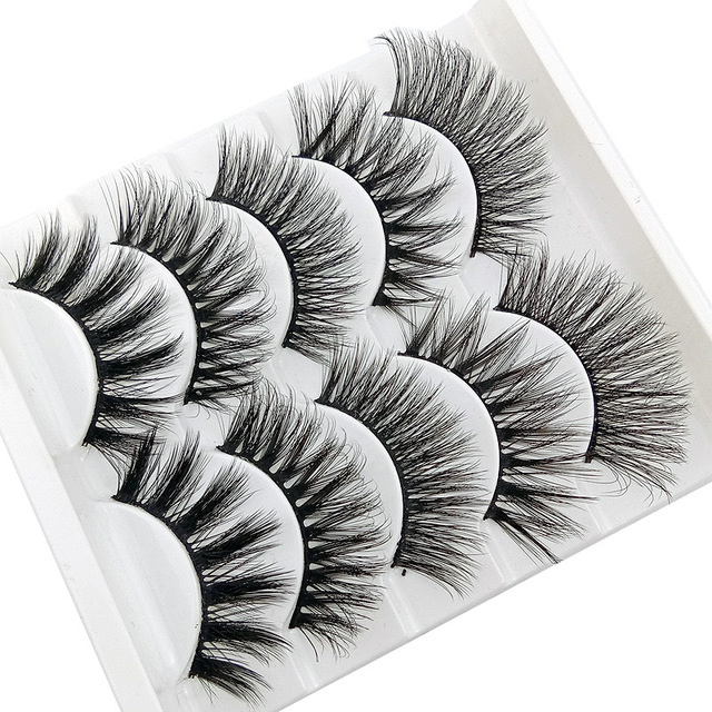 5 pairs 3D Mink Eyelashes Natural False Eyelashes Lashes Soft Fake Eyelashes Extension Makeup Tools Wholesale 1