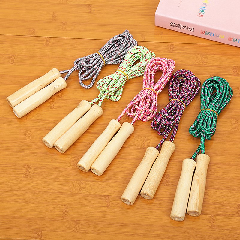 1PC Random Color Skipping Sports Skipping Rope Kids Jump Rope Wood Grip Handle Children Fitness Equipment Gym Equipments