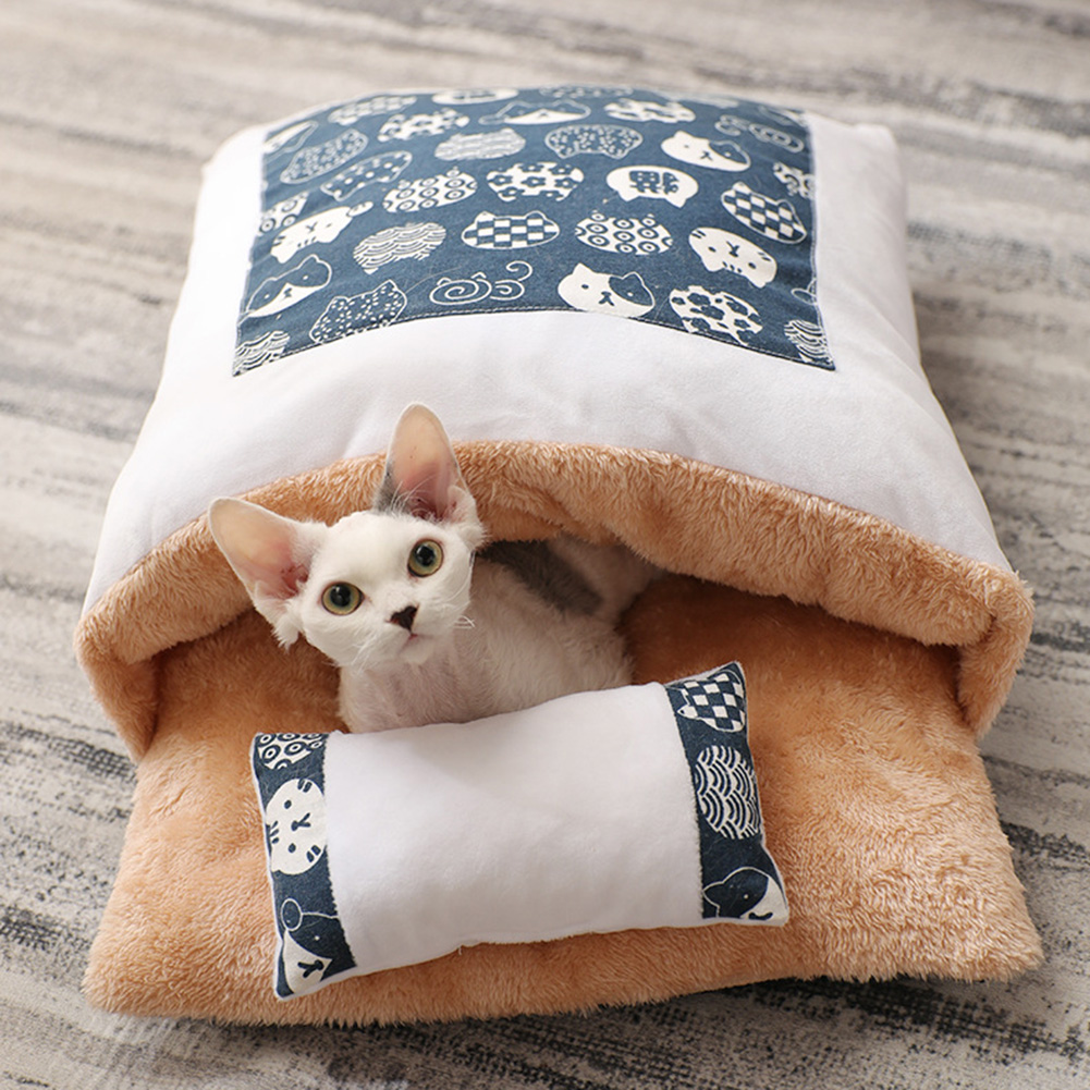 Winter Warm Pet Dog Cave Bed Soft Fleece Washable Removable for Cat Puppy Japanese Style Sleeping Bag Cushion House 1