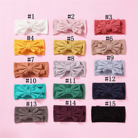 15pcs Cute Stretchy Hair Accessories Knitted Bow Headbands for Girls Fashion Elastic Solid Wide Turban Head Wrap Haarbands