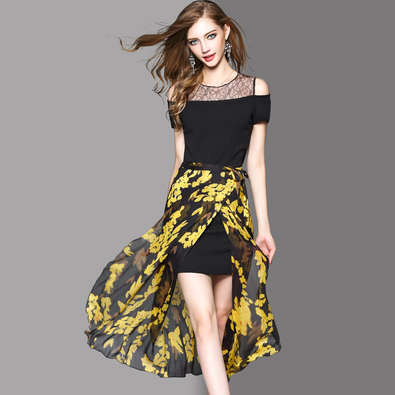 Closeout Not Returned Summer Lace Off-Shoulder Fitted Skirt + Chiffon Printing Skirt Two-Piece 72911