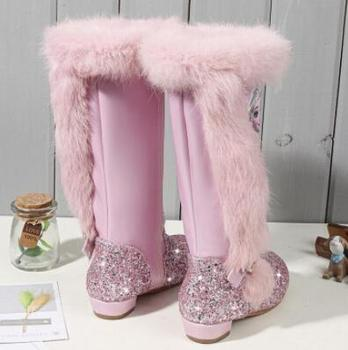Autumn Winter New Children Princess Elsa Boots Girls Boots Fashion Martin Boots High Children Princess Girls Shoes Size 24-37