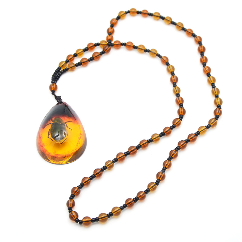 Brazilian Natural Beetle Insect Golden Scorpion Amber Pendant Necklace Jewelry Gifts For Women Men
