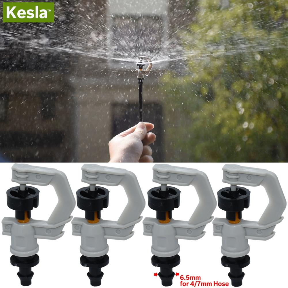 KESLA 5PCS Rotating Sprinkler 360 Degrees Micro Spinning Spayers Nozzles W/ Barb 4/7 Hose Garden Dirp Irrigation Watering System