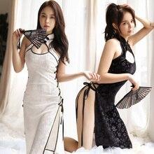 Kış kadife Cheongsam Nightgowns yüksek yan açık bölünmüş seksi gece elbisesi bayan Cosplay kostüm iç çamaşırı gece pijama