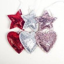 NEW 3Pcs /Set Christmas Pendants Glittered Cloth Heart/Star Shaped Xmas Tree Drop Ornament Hanging Holiday Party Decor Supplies недорого