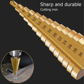 цена на 3pcs/Set  HSS Steel Large Step Drill Bit Cone Titanium Coated Metal Drill Bit Cut Tool Hole Cutter Woodworking 4-12/20/32mm