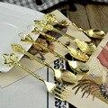 6 шт./компл., винтажные ложки, вилка, металл Королевского стиля, золото, резьба, кофейная ложка, закуски, вилка для фруктов и десертов кухонная ...