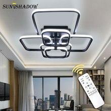 Square Rings Modern LED Chandelier For Living room Bedroom Dining room White&Black Body Led Ceiling Chandelier Lighting Fixtures цены