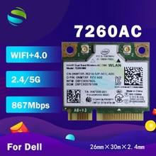 Adaptador wifi para intel dual band, sem fio-ac 7260 7260hmw 7260ac meia mini pci-e + bt4.0 + 867mbps cartão sem fio para dell 8tf1d