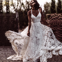 BeryLove Sexy Beach Ivory Lace Wedding Dresses With Slit Backless Wedding Dress 2020 Bridal Dresses Wedding Gowns Robe De Mariee