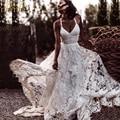 Vestido De novia BeryLove Sexy De playa De encaje De color marfil con abertura sin espalda vestido De novia 2020 vestidos De novia