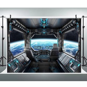 Image 4 - Laeacco Birthday Photography Backgrounds Universe Space Capsule Spaceship Little Astronaut Photo Backdrops For Photo Studio Prop