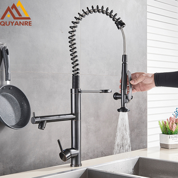 Blackend Tall Spring Kitchen Faucets Pull Down Sprayer Kitchen Faucet Single Handle Hot Cold Water Mixer Tap 360 Rotation Crane