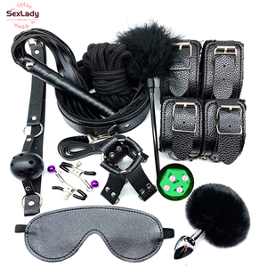 SexLady Sex Handcuffs Whip Collar Gag Nipple Clamps Rope Bdsm Bondage Set Erotic Sex Toys For Couples Women Anal Butt Plug Tail