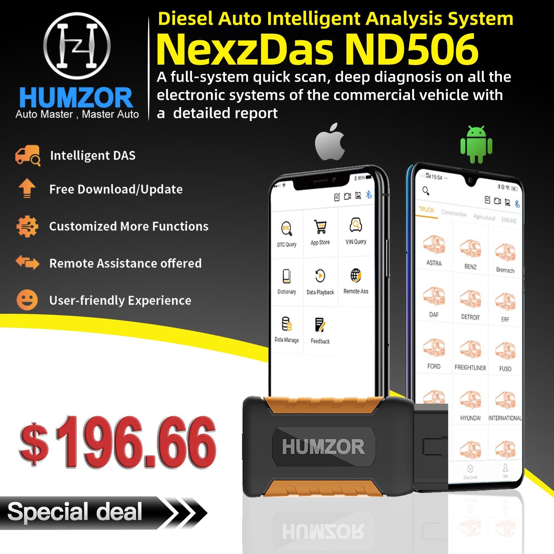 Humzor NexzDAS ND506 OBD2 samochodowy czytnik kodów pełny układ skaner samochodowy pojazdów ciężarowych Diesel automatyczne narzędzie diagnostyczne dla android ios