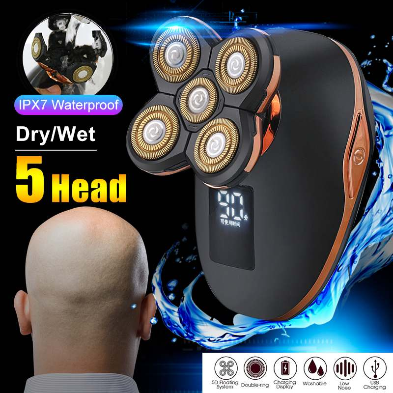 5 In 1 Usb Rechargeable LCD Display Electric Hair Trimmer Beard Trimmer Electric Shavers Razors For Men Head Face Waterproof Electric Trimmers     - title=
