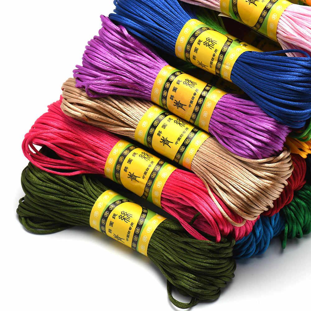 20M 1.5mm satynowy nylonowy sznur wykończeniowy, sznurek grzechotkowy chiński węzeł