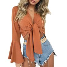 цена на Women Tops Ladies Lace Up Satin Tie Knot Front Flared Sleeve Plunge Neck Crop Tops